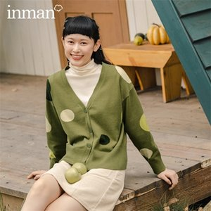 INMAN 2020 Autumn Winter New Arrival Wave Point Cardigan Sweater Dropped Shoulders Slim Retro Literary Casual Thin Coat 0925