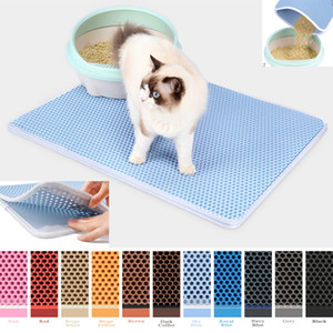 Color Waterproof Pet Cat Litter Mat Double Layer Non-slip For Cats Pets Litter Trapping Pets Litter Mat Cat Bed Pads House Clean