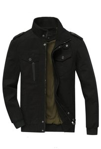 Mens Jackets Cotton Washed Long Sleeve Stand Collar Slim Outerwear Fashionable Casual Mens Coat