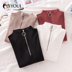 Miyouj Magro Primer shirt Moda 2020 New Outono Mulheres DO Vestuário Zipper Turtleneck Pullovers Chic SYTLE elegantes Camisolas Mulher