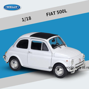 Welly Diecast Alloy FIAT 500L Vintage Car Model Toy, Rero Style, 1:18 Scale Ornament, Christmas Kid Birthday Boy Gift, Collecting,18009, 2-1