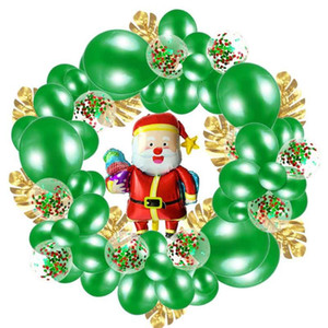 74Pcs Set Christmas Wreath Balloons Chain Turtle Leaf Sequin Balloon Set Balloons Red Green Happy New Year For Party Decorations