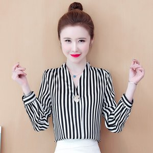 SZEZv 2020 Autumn striped long sleeve new Korean Top silk lace silk style chiffon top lace chiffon base shirt