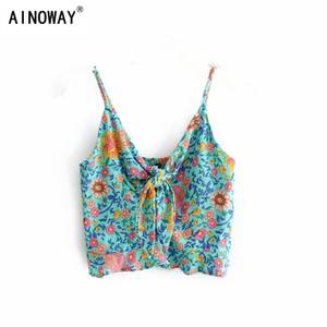 cultura de moda chique Vintage impressão floral das mulheres sem mangas encabeça boêmio praia colete arco curto boho camis babados feminina 200922