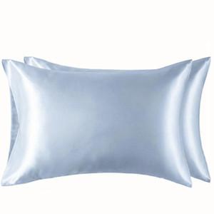 100% polyester satin Taie style simple Simulé soie couleur Taie souple Brillant très lisse Literie Taie VT1461 confortable