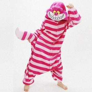 Розовый Cheshire Cat Winter Пижама Animal One Piece Unisex Pajama Onesies Cute Cat pijama Пижама WarmSoft onsie Y200425 obEO #