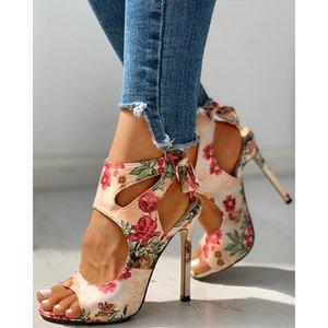 Moda Yeni Kadın Ayakkabı Yaz İnce Yüksek Topuklar İşlemeli Peep Toe Gladyatör Ofisi Sandalet Parti Ayakkabı