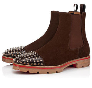 Luxus-Designer Mann-Winter Ankle Boots Red Bottom Melon Spikes Stiefel aus Kalbsleder Gummi Lug Sole Mens Fashion Booty Famous Party Hochzeit