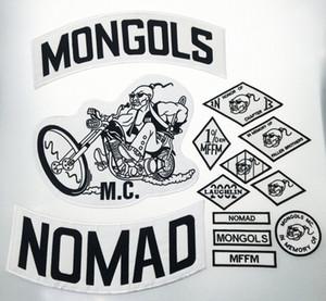 De calidad superior MONGOLES NOMAD MC motorista chaleco bordado Parche 1% MFFM en la memoria hierro en completa espalda de la chaqueta de Motorcyle de envío libre de parche hZHN #