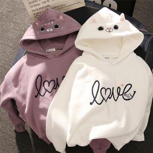 Women Hoody Women Cute Cat Hoodie Long Sleeve Elastic Warm Winter Plush Coat Student 2020 Fashion Top Streetwear