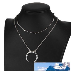 Hot selling 2piece set minimalist choker necklace women jewelry long goth statement multilayer necklaces hip hop jewelry with moon charm