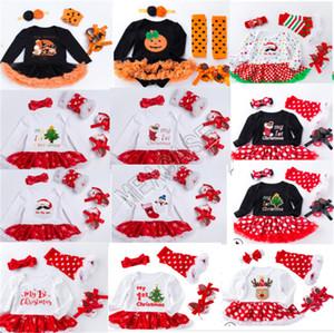 اللباس مصمم عيد الميلاد الطفل السروال القصير كم طويل + عقال + نيباد + أحذية أربع قطع البدلة هالوين للأطفال الأواني سنو القرع حللا D82504