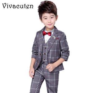 Boy's Suits & Blazers Children's Clothing Kids Formal Suits Plaid Blazer + Vest + Pants 3pcs Suit Set For Wedding Clothing Set