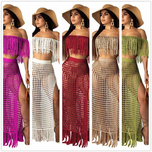 Ladies Off Shoulder Mask Transparent Hollow Sleeveless Fringe Summer Swimsuit Solid Color Bikini 2Pcs Swimsuit Beach Swimsuit