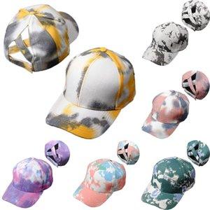 Fashion Tie Dye Criss Cross Ponytail Baseball Cap Lavé Hip Hop réglable chapeaux d'été en plein air Chapeaux d'impression Dégradé DDA479