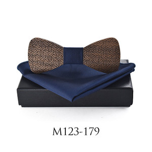 Sitonjwly Fashion Mens Wood Bowtie Handkerchief Cheif Set for Mens Pocket Square Scarf for Wedding Hollow Craved Bowtie Box Gift