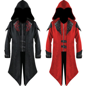 20FW Cosplay Costumes Medieval Europe and America Halloween Retro Splicing Jacket Fashion Print Men's Dark Costume Size S-3XL