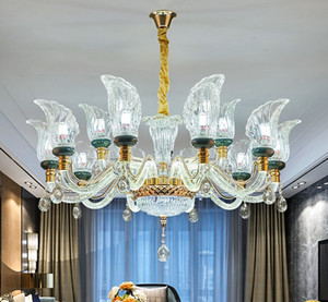 2020 Luxuxkristallleuchter Wohnzimmer Lampe einfache moderne Atmosphäre neue High-End-Lampe Arm glühenden Restaurant Pendelleuchten
