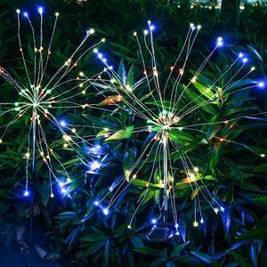مصابيح الألعاب النارية الشمسية 90/120/150 LED سلسلة مصباح ماء حديقة الإضاءة مصابيح العشب أضواء زينة عيد الميلاد