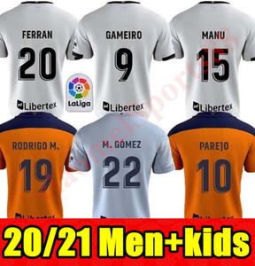 20 21 Valencia 축구 유니폼 2020 2021 Guedes Gameiro Camisetas de Futbol Rodrigo M. Florenzi M.Gomez 남자 키트 풋볼 셔츠