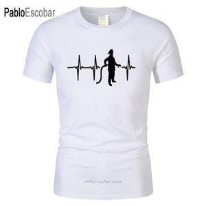 Regalo di compleanno Tees linea di stampa T-shirt manica corta in cotone Pompiere Heartbeat maglietta casuale divertente del vigile del fuoco