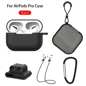 5 in 1 Silikon-Kasten-Abdeckung für Apple für Airpods Pro Lanyard Kopfhörer Schutz Anti-Rutsch-Weiche Tasche für AirPod 3 Speicherzubehör