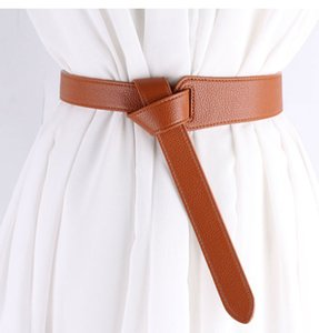 Женщины Украшение Accessaries Пояс Женский Knotted Простой Waistband Длинные широкие ремни моды для женщин PU кожаный ремешок платье талии