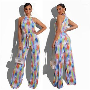Bacak Pantolon tulum Kadınlar İnce Giyim Geniş Kadınlar Colorfull Çizgili Tulum Romper Kolsuz Şık Tulum Yaz Casual Clubwear Takımları