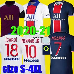 최고의 20 21 MBAPPE ICARDI 축구 유니폼 2020 2021 네이 마르 디 마리아 JR 마르 키 Maillots 축구 키트 카바 니 셔츠 MEN S 사이즈 드 - 4XL