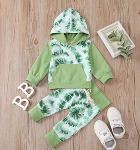 Big Pocket Newborn Girl Outfits Tie Dyeing Baby Clothes Long Sleeve Infant Boy Hooded Tops Pants 2pcs Sets Designer Baby Clothes BT5805