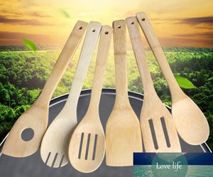 hot Bamboo spoon spatula 6 Styles Portable Wooden Utensil Kitchen Cooking Turners Slotted Mixing Holder Shovels SN106