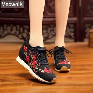 Veowalk Blooming Plum Вышитых Женщины Холст кроссовки Удобного Hidden платформа Китайских вышивки зашнуровать обувь