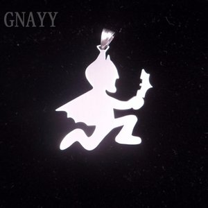 GNAYY Large 2 inch Hatchetman Charms ICP Hatchet bat Pendant Juggalo Stainless Steel Pendant Necklace ball chain 30''