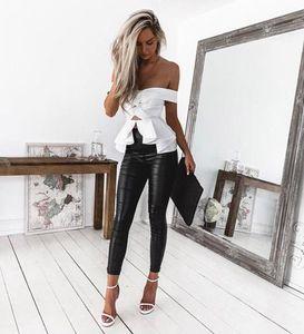 Taille haute femmes Skinny Stretch Crayon Pantalons chaud Vente Mesdames Slim Fit Pantalon en cuir PU / Leopard / peau de python Pantalon imprimé