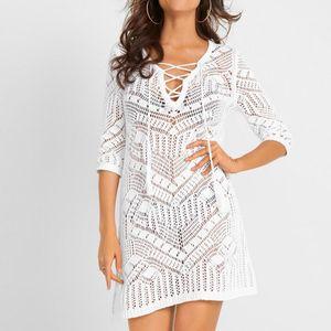 Sexy Cover Up Bikini Women Swimsuit Cover-up Beach Bathing Suit Beach Wear Knitting Swimwear Mesh Dress Tunic Robe#J30