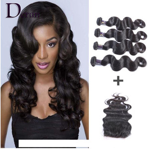 A Brazilian Human Weave Hair Weft Extensions 4 Bundles And Top Lace Closure (4 &Quot ;X4 &Quot ;)1pcs Body Wave Wavy Natural Color Free