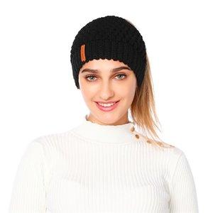 DUOJIAOYAN Eur Америка Новая вязаная шапка зимы Женщины Hat Ухо защиты шерсти трикотажные Cap Слейте Топ Девушки