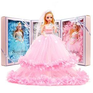 40 cm Vestido de novia Barbie Doll Princess Evening Party Ropa Wears Long Dress Outfit Set Accessories Kids Toy Best Gift para niña