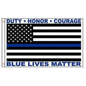 أعلام USA الشرطة رقيقة الخط الازرق واجب الشرف الشجاعة الأزرق حياة المسألة 3x5ft الطباعة البوليستر بالجملة