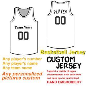 Männer Custom Basketball Jersey Nähen Nummer und Name, Stickerei Teamlogo und Teamname, hochwertige Verarbeitung