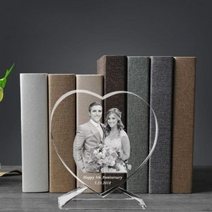 3D Laser Engraved Crystal Photo Frame with Stand Heart Shaped Love Glass Picture cadre Albums gifts for valentines day Wedding C0927