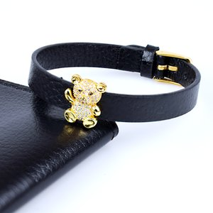 CZ Zircon Pupp Bear Classic Wrap Leather Bracelets & Bangles for Women Adjustable Charms Jewelry Watch Belt Bangle
