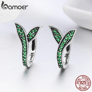 BAMOER 100% 925 Sterling Silver Spring Collection Flower Buds Green CZ Hoop Earrings for Women Sterling Silver Jewelry SCE295 200924