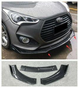 FOR Hyundai Veloster 13-17 Carbon fiber StyleFront Bumper Molding Cover Trim 3PC