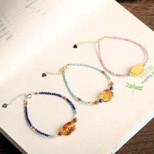 EaPDL design nanhong Argento 925 tormalina naturale con cera d'api accessori Green Gold Green Pine braccialetto bra