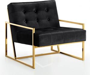 Оптовая Vintage высокое качество золота металла Мебель для гостиной подлокотника Одноместный Velvet черный стул отдыха