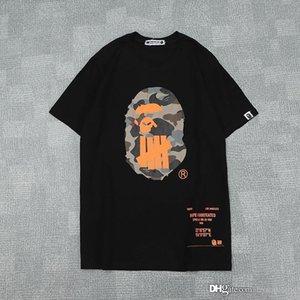 Verão Homens Mulheres Preto Laranja Branco Camo Impresso em torno do pescoço T-shirt Casual soltas de manga curta T-shirt dos homens