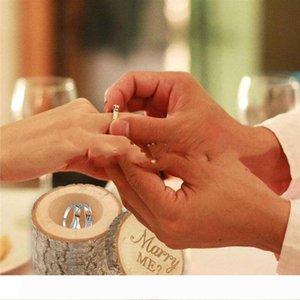 Bricolage bois Boîte de bague de mariage au porteur boxex mignon petit boîte-cadeau Novel Holiaday Party Gift WY439Q