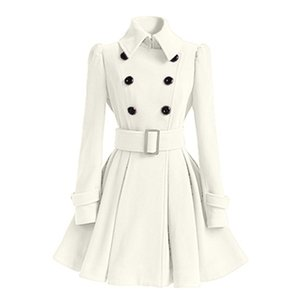 European and American Autumn and Winter Woolen Coat Seven-Color Four-Size Woolen Trench Coat Women Waistband Spot