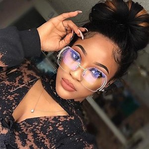 HBK Rimless Gradient Classic Eyeglasses Sunglasses Gold Metal Frame Women Men UV400 Vintage Sun Glasses Frame Retro Oversized
